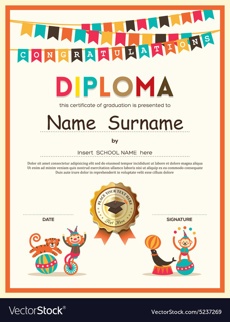 Sports Certificate Template Vector Sports Certificate Wording - certificate template for kids