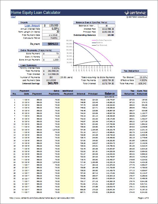 heloc payment calculator excel
