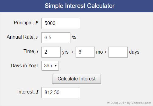 simple interest amortization formula