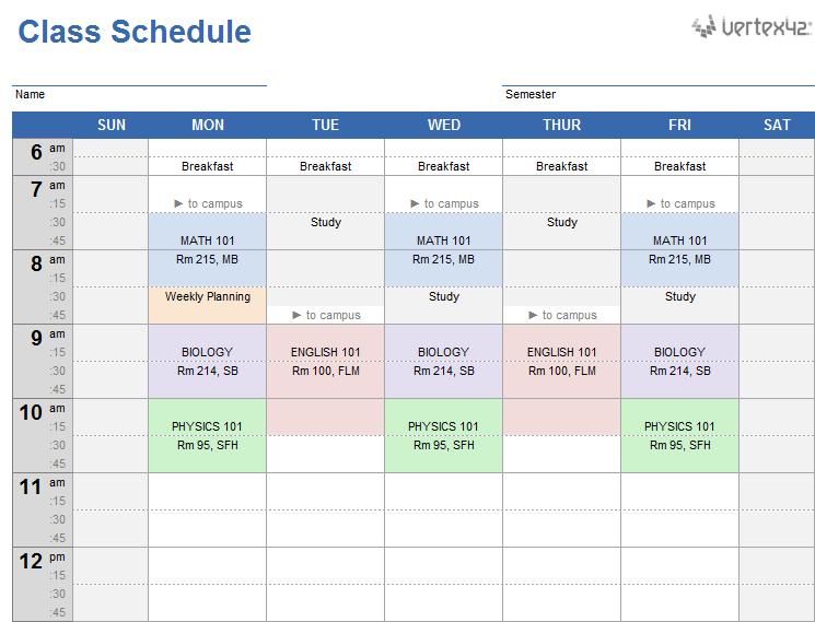 excel school schedule template