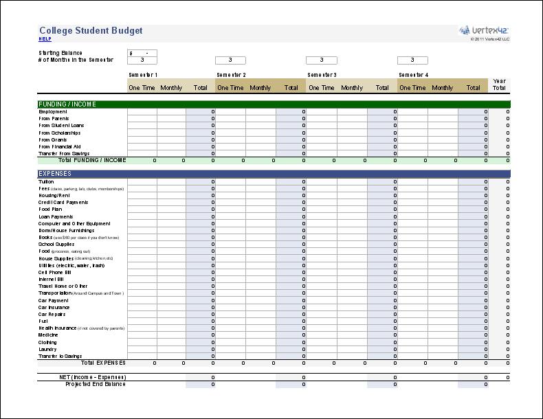 Free College Student Budget Worksheet
