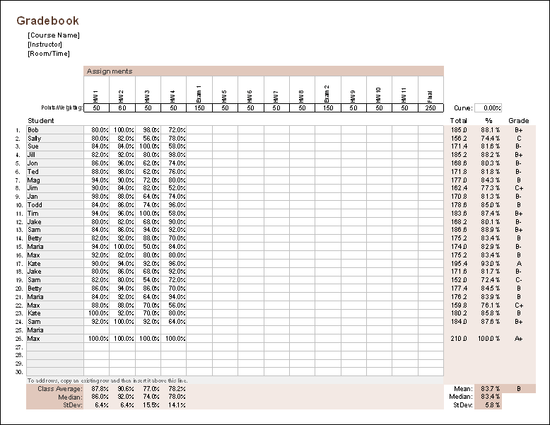 excel gradebook template