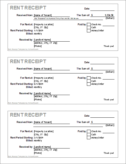 Sample Rental Receipt – Free Rent Receipt Template
