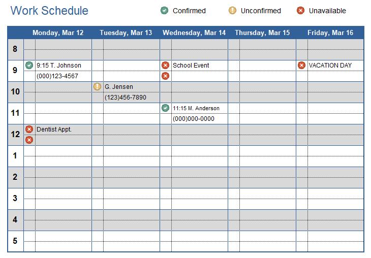 work schedule excel templates