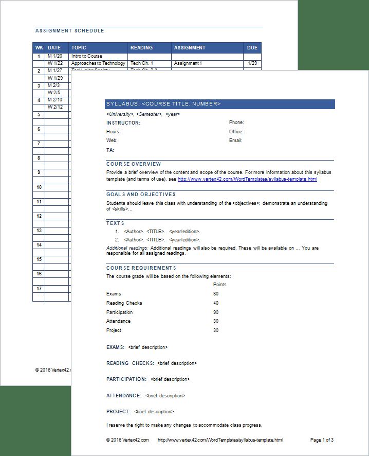 course syllabus template word
