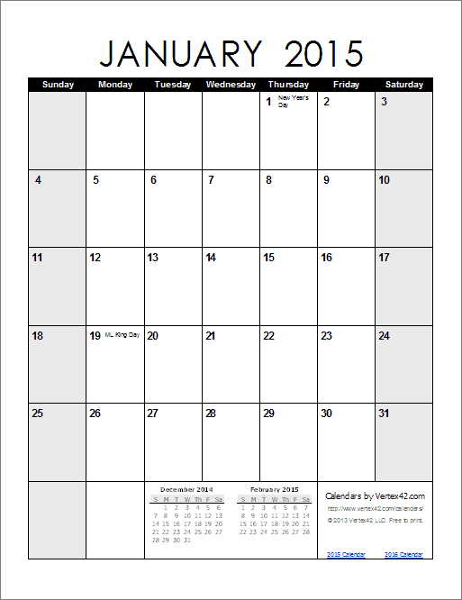monthly calendars printable 2015