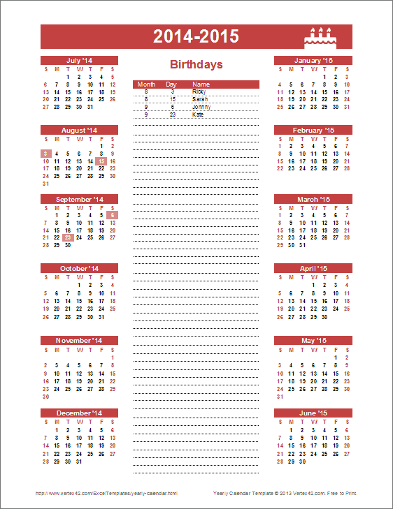 Who Created Our Calendar List Charms Office Assistant Birthday Calendar Template Yearly Birthday Calendar