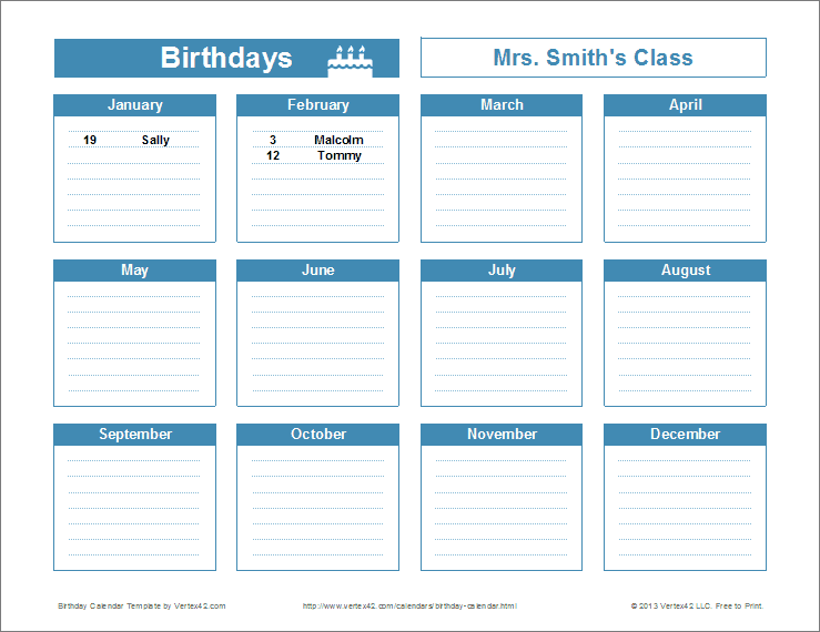 birthday calendar template excel