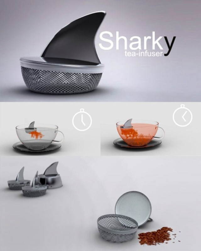 A tea infuser with shark's fin lid.