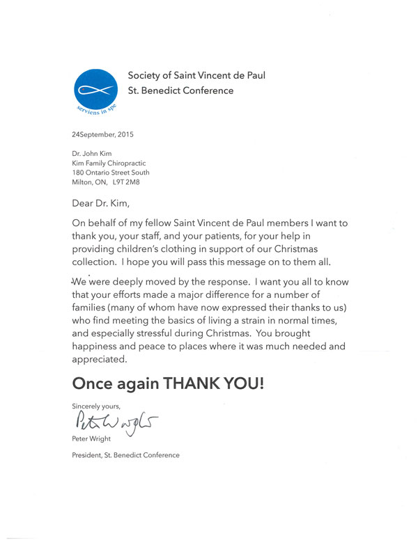 A Thank You Letter from the Society of Saint Vincent de Paul