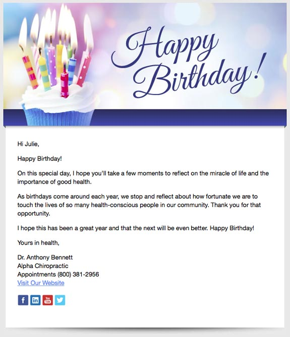Birthday Wishes For Friend Email 5 Chiropractic Email Marketing Templates