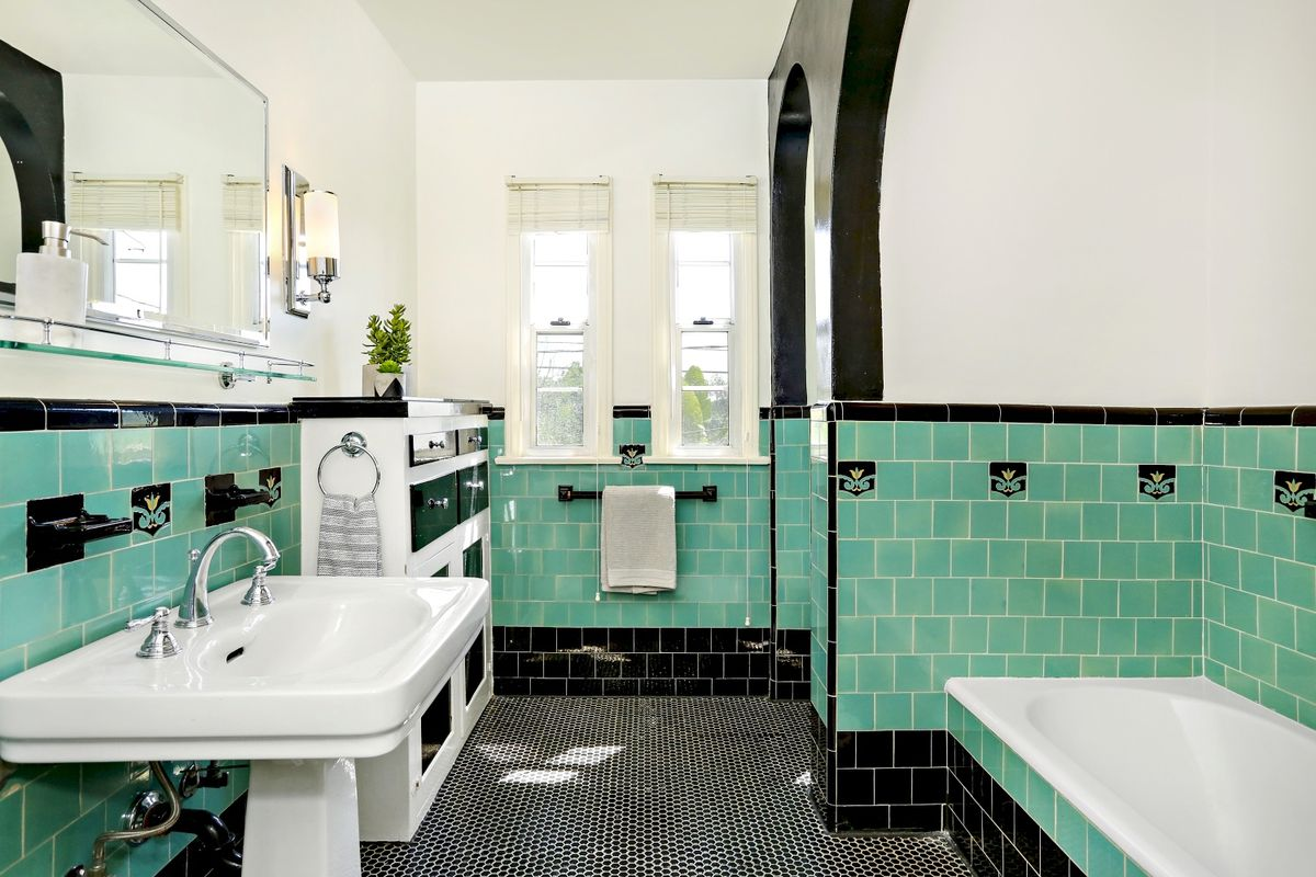 Black Tiled Bathroom Glendale Spanish Style With Vintage Tile Bathrooms Asks 1