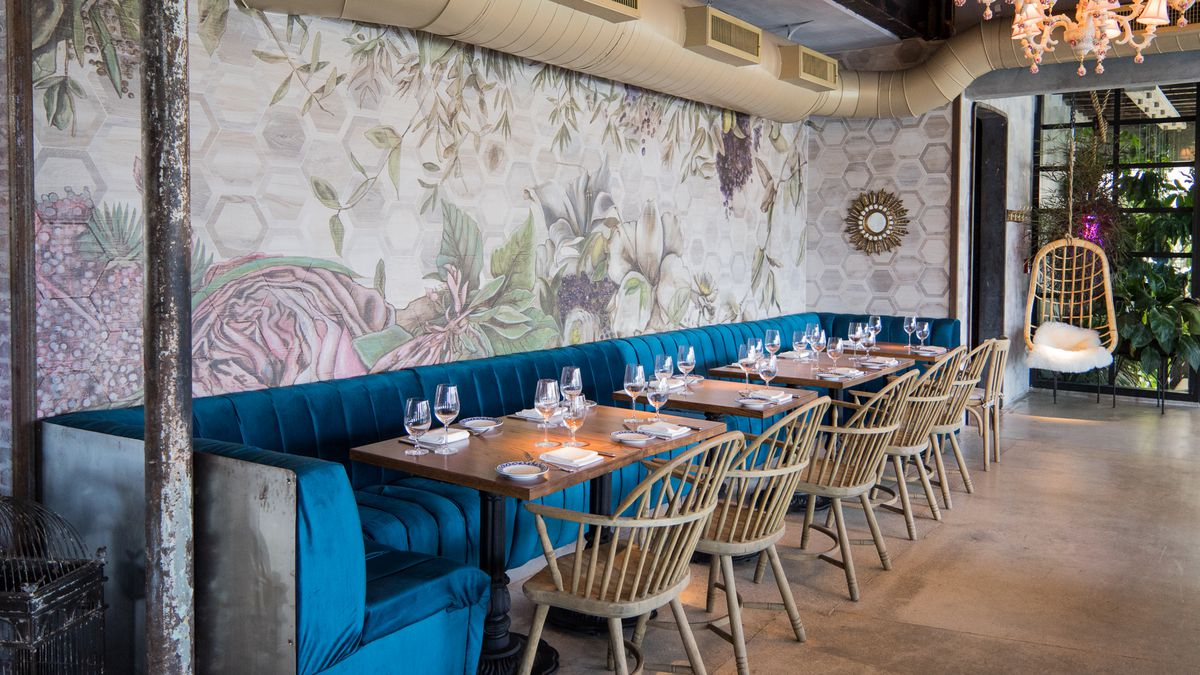 Funky Chairs Inside Kiki On The River, Miami's Whimsical New Greek