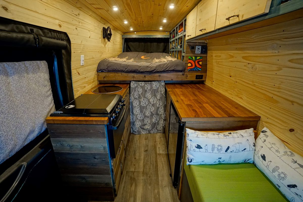 Appealing Far Out Ride Diy Camper Van Cost Just To Build Curbed Use A Compactgalley Kitchen To Courtesy Isabelle Antoine Sleep On A Bed Above Gear curbed Build Your Own Camper