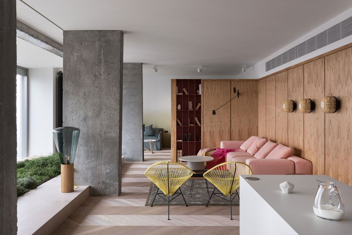 Concrete House Interior Modern Apartment Renovation Uses Concrete And Pink To