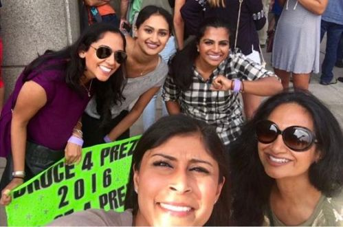 The author [extreme right] and younger sister Almas, niece Ayana Jamal, and friends Deba Malik and Afshan Shamim before a Bruce Springsteen show in Chicago in 2016.