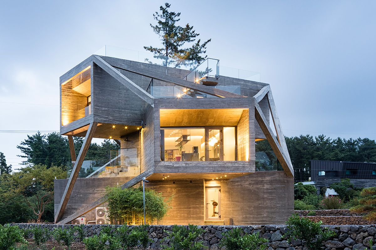 Simple House Image This Wacky Concrete House Is Made Of Angled Volumes Curbed