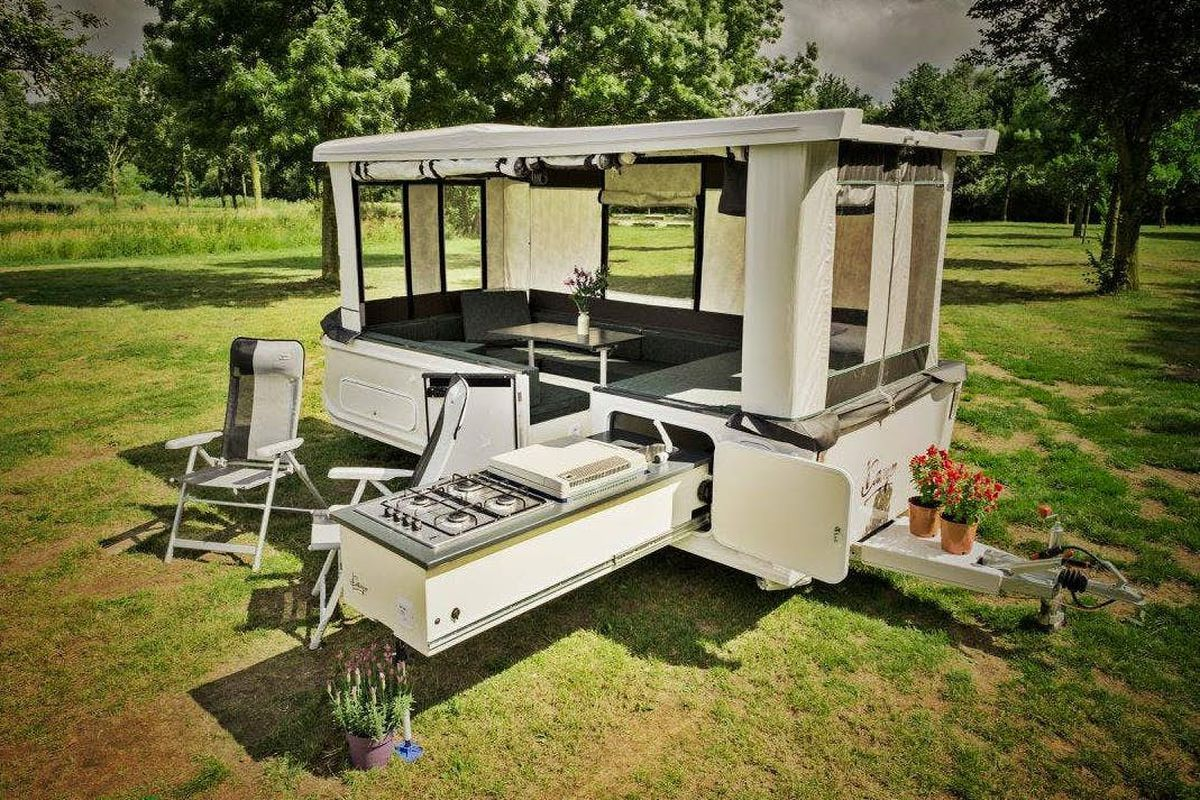 Caravan With Slide Out Kitchen Camper Trailer Pops Up In 30 Seconds Boasts Slide Out