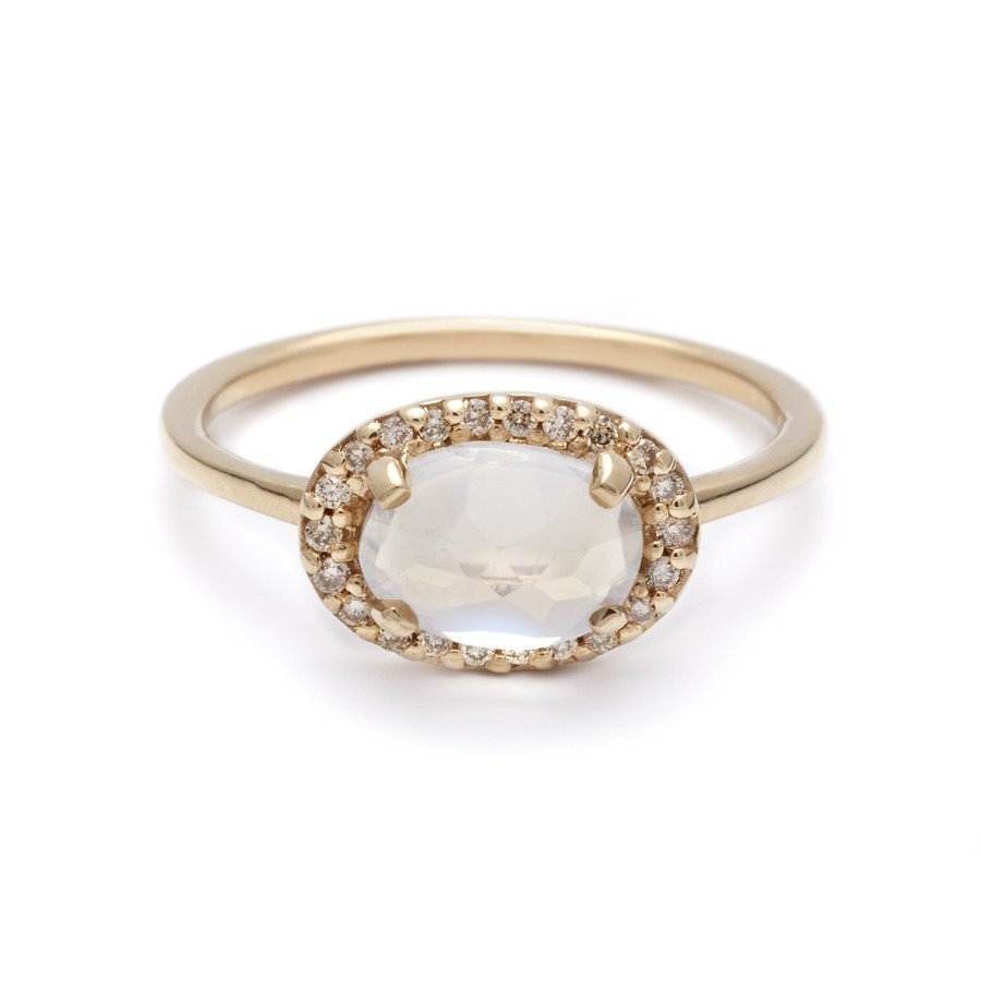 cheap engagement rings inexpensive wedding rings A moonstone and diamon engagement ring