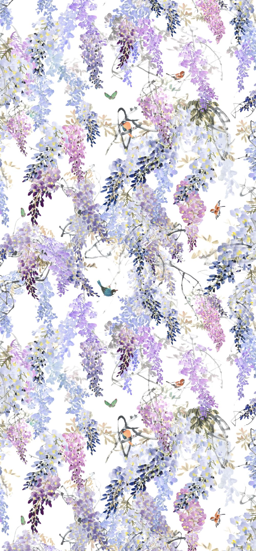 Wisteria Falls Wallpaper Wisteria Falls Panel A By Sanderson Lilac Wallpaper Direct