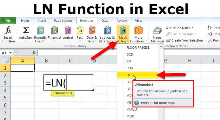 LN in Excel (Formula, Graph, Examples) How to Use LN Function?
