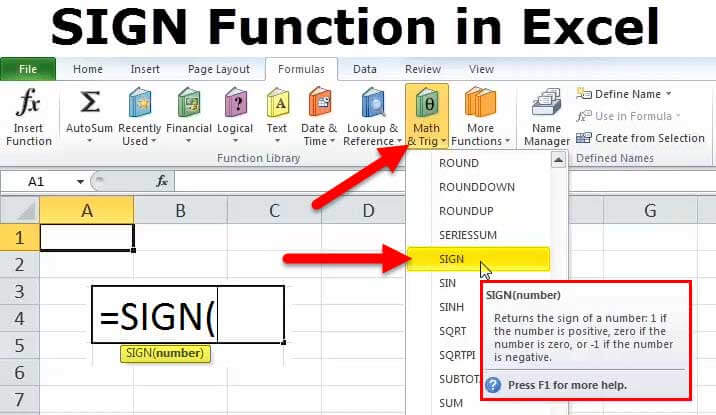 SIGN in Excel (Examples, Formulas) How to use SIGN Function in Excel?