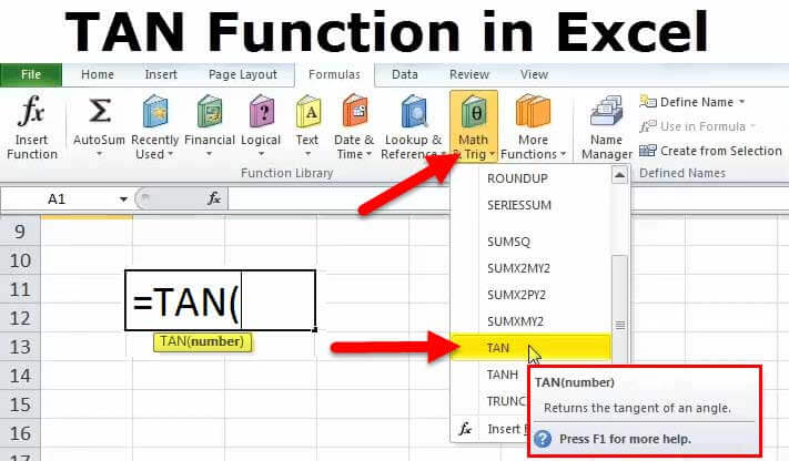 TAN Excel Function (Formula, Examples) How to Use Tangent in Excel?