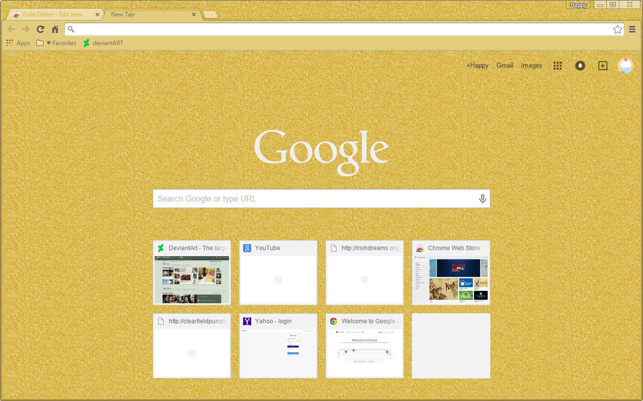 Gold glitter google chrome theme