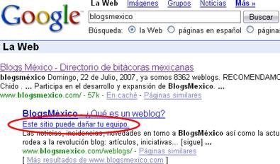 blogsmexico google ¿BlogsMexico Puede Dañar Mi Equipo?... o Simplemente a Google no le cae bien BlogsMexico