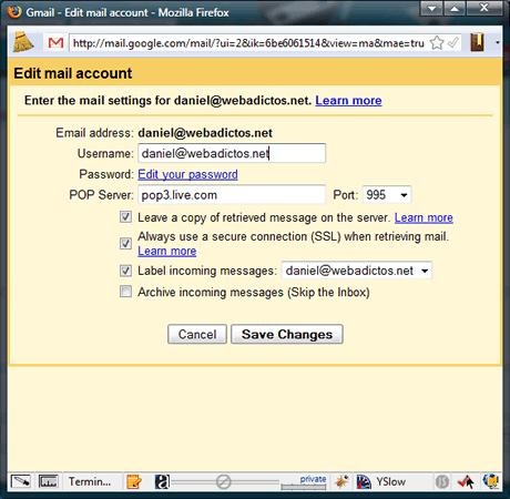 3 gmail pop hotmail Configuracion POP3 de Hotmail