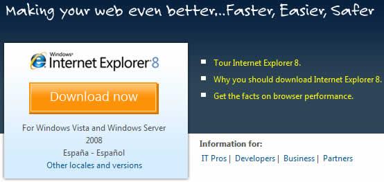 internet explorer 8 Internet Explorer 8, descargalo ya!