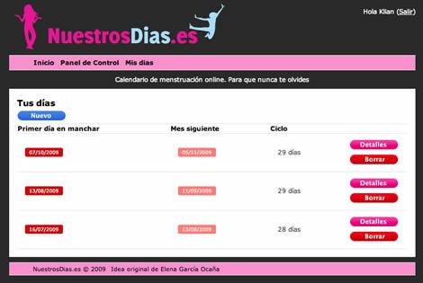 calendario menstruacion Dias fertiles, calculalos en Nuestrosdias.es