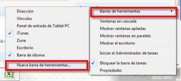 inicio rapido 1 Agrega la barra de Inicio rápido a la barra de tareas en Windows 7