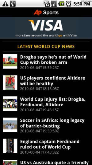 ap 2010 world cup android Mundial Sudafrica 2010 en tu android