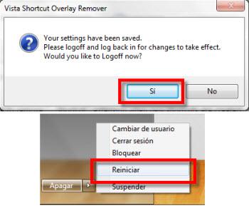 flechas icono acceso directo Quitar flecha de accesos directos