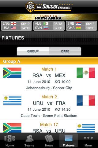 fox soccer Mundial 2010 en iPhone
