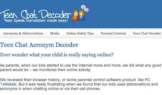 Teen Chat Decoder Traductor online de abreviaturas de Internet, Teen Chat Decoder