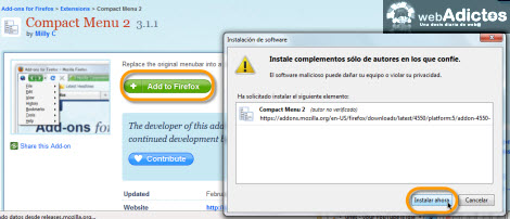 compact menu Compacta tu barra de herramientas en Firefox