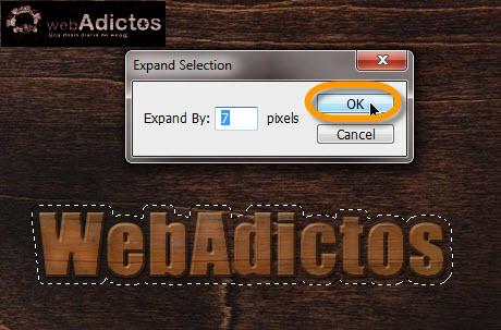 expand selection Crear grabado de madera en Photoshop