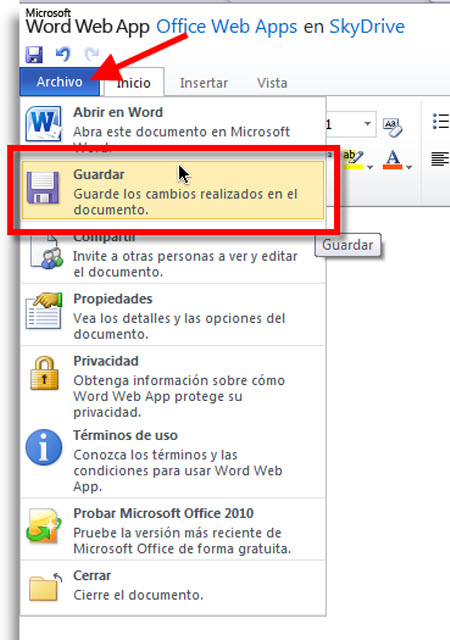guardar documentos en linea Crear documentos de Office 2010 en línea