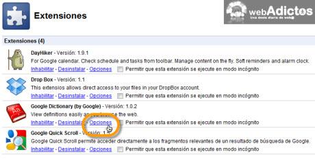 opciones google.dictionary Agregar diccionario de Google en Chrome
