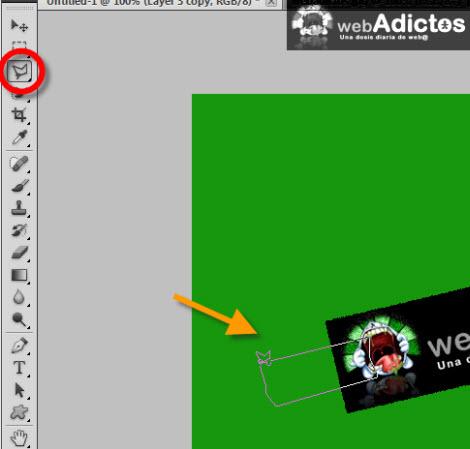polygonal lasso tool Crear una cinta adhesiva en Photoshop