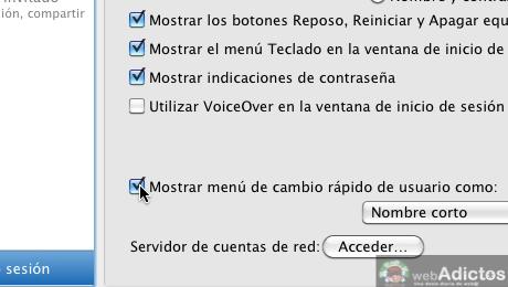 Mostrar usuario en la barra de menus Mac 5 Mostrar cambio rápido de usuario, o sea, tu nombre en la barra de menús