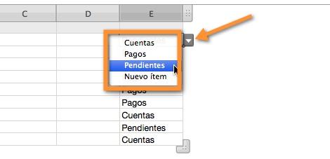 seleccionar opciones menu desplegable numbers Agregar un menú desplegable a una tabla en Numbers