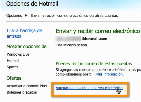 hotmail 4 Agregar tus servicios de correo electrónico externo a Hotmail