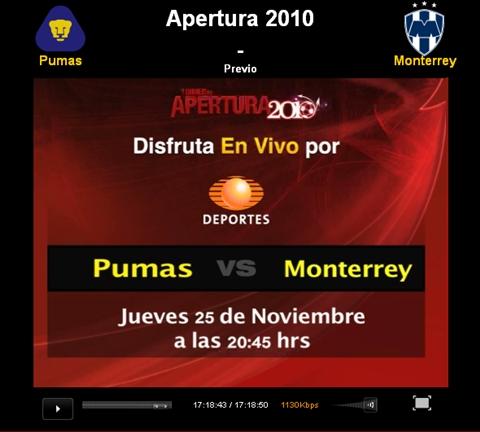 pumas monterrey en vivo apertura 2010 Pumas vs Monterrey en vivo, Semifinal Apertura 2010