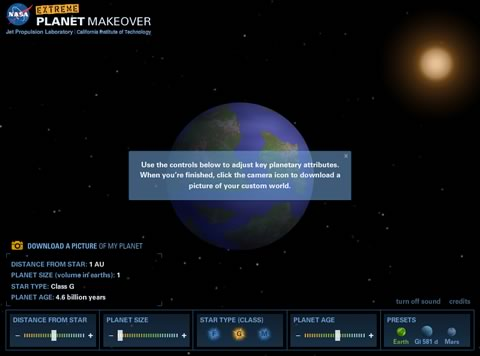 crear planeta nasa Extreme Planet MakeOver, crea tu propio planeta