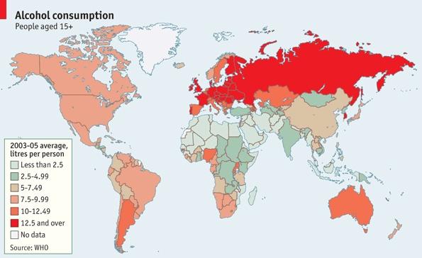 Consumo de alcohol en el mundo El consumo de alcohol en todo el mundo