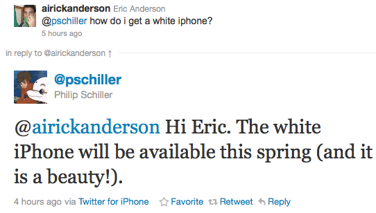 phil schiller twitter Se confirma el iPhone 4 blanco para primavera