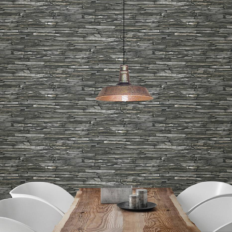 Voorstrijk Voor Behang Dutch Wallcoverings Reclaimed Leisteen Behang Grijs Groen De